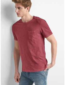 Crewneck Pocket T Shirt In Slub Cotton by Gap