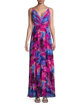 Pleated Floral Maxi Dress by Laundry By Shelli Segal