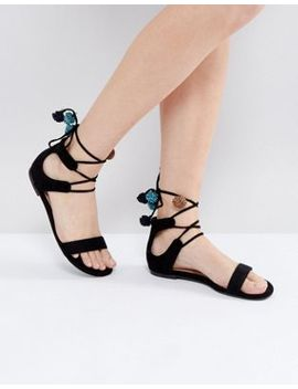 Call It Spring Mckeague Lace Up Pom Pom Sandals by Call It Spring