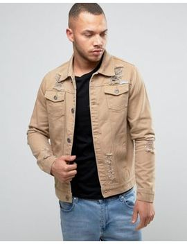 Liquor N Poker Ripped Denim Jacket Tan by Liquor N Poker