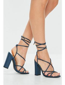 Blue Multi Strap Block Heel Sandal by Missguided