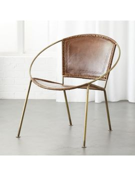 Micaela Brown Leather Chair by Crate&Barrel