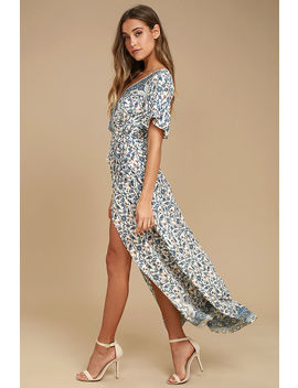Amabella Cream Print Wrap Maxi Dress by Lulu's
