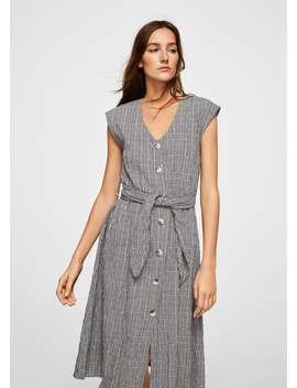Check Belt Dress by Mango