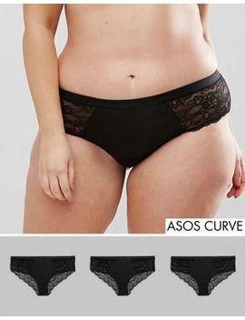 Asos Curve 3 Pack Microfibre & Lace Short by Asos Curve