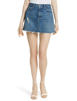 Eva Denim A Frame Gusset Skirt by Grlfrnd