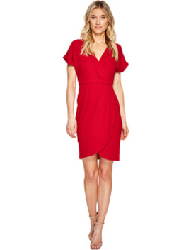 Drop Sleeve Wrap Dress Tulip Hem by London Times