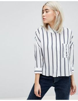 Pull&Bear Stripe 3/4 Sleeve Shirt by Pull&Bear
