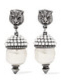 Silver Tone Faux Pearl Earrings by Gucci