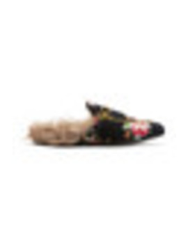 Princetown Horsebit Detailed Shearling Lined Floral Print Velvet Slippers by Gucci