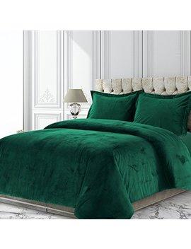 Tribeca Living Veniceduvetqueg Venice Velvet Oversized Solid Duvet Set, Queen, Emerald Green by Tribeca Living