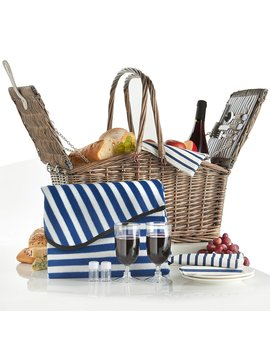 Von Shef Deluxe 2 Person Folding Handle Picnic Basket Hamper With Cutlery, Plates, Glasses, Tableware & Fleece Blanket by Von Shef