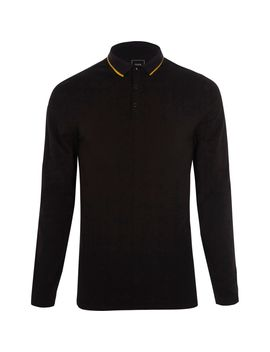 Black Muscle Fit Tipped Collar Polo Shirt                                  Black Muscle Fit Tipped Collar Polo Shirt by River Island