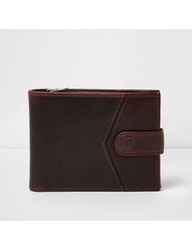Brown Block Leather Tab Fasten Wallet                                  Brown Block Leather Tab Fasten Wallet by River Island