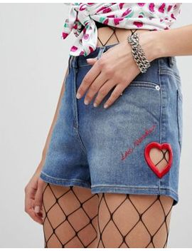 Love Moschino Embroidered Icon Denim Shorts by Love Moschino