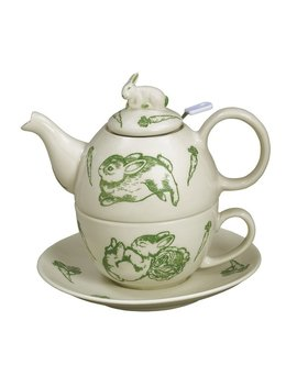 Bunny Toile 3 Piece Porcelain China Tea Set by Andrea By Sadek