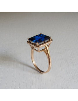 Solitaire Blue Sapphire Ring by Etsy