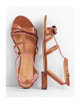 Keri Bow Vachetta Leather Sandals by Talbots