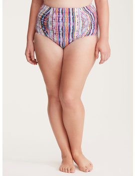 Multi Stripe Ruched High Waist Swim Bottom by Torrid
