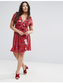 Club L Plus Tea Dress With Frills In Floral Print by Club L