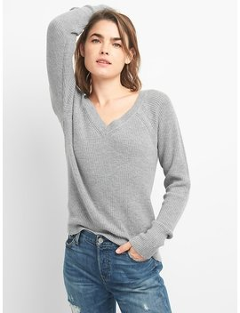 V Neck Pullover Sweater In Merino Wool Blend by Gap