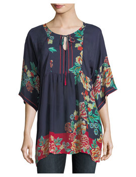 Charming Floral Print Pintuck Top by Johnny Was