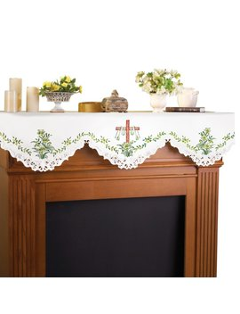 Embroidered Lily And Cross Easter Mantel Scarf by Collections Etc