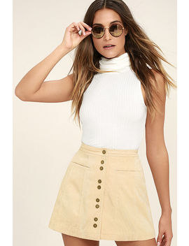 Made With Moxie Beige Corduroy Mini Skirt by Lulus