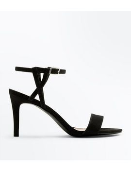 Black Suedette Twist Strap Heeled Sandals by New Look