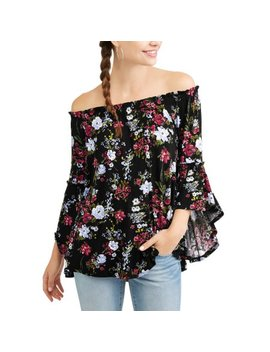 Time And Tru Women's Off Shoulder Shirred Flutter Sleeve Top by Generic