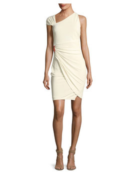 Asymmetric Neck Fitted Cocktail Dress W/ Side Brooch by Roberto Cavalli