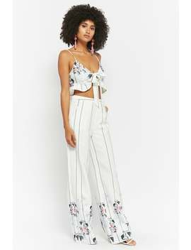 Floral Striped Crop Top & High Rise Pants Set by Forever 21