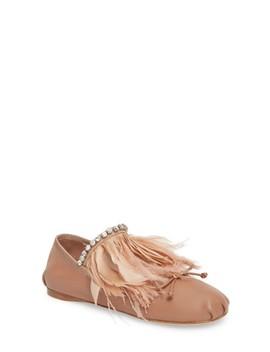 Feather Embellished Ballet Flat by Miu Miu