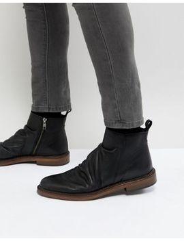 Walk London Leather Zip Boots In Black by Walk London