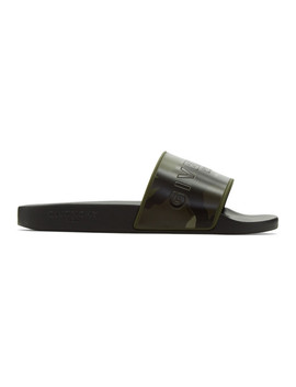 Khaki Camo Pool Slides by Givenchy