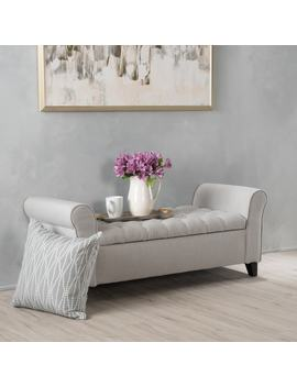 Keiko Tufted Fabric Armed Storage Ottoman Bench By Christopher Knight Home by Christopher Knight Home