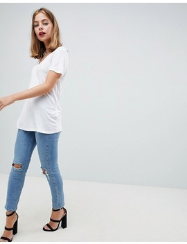 Asos Design Petite V Neck Swing T Shirt by Asos Design