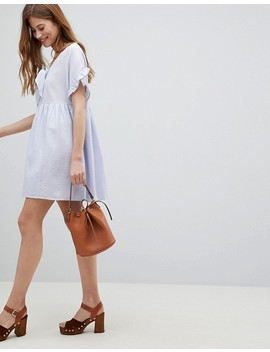 Asos Casual Mini Smock Dress In Grid Texture With Bunny Tie by Asos Collection
