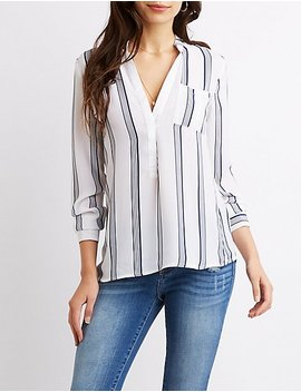 Striped Pocket Front Shirt by Charlotte Russe