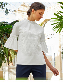 Ruffle Sleeve High Neck Cotton Top by Ted Baker