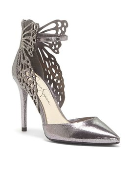 Jessica Simpson Leasia Metallic Laser Cut And Rhinestone Pumps by Jessica Simpson