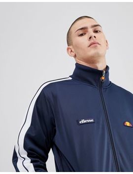 Ellesse Poly Tricot Track Jacket With Sleeve Taping In Navy by Ellesse