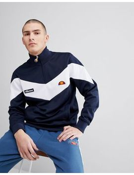 Ellesse Half Zip Sweatshirt With Chevron Panel In Navy by Ellesse