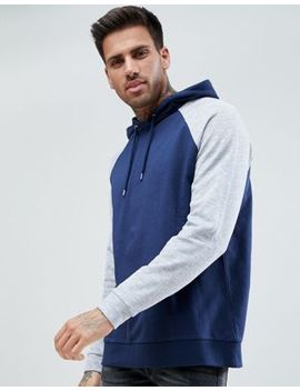 Asos Hoodie With Nep Raglan Sleeves In Navy by Asos
