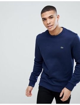 Lacoste Crew Neck Logo Sweat In Navy by Lacoste