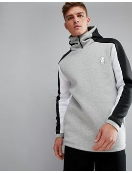 Bershka Sport Color Block Hoodie In Gray by Bershka