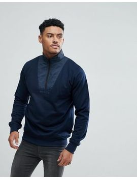 Nicce London Sweatshirt With Half Zip Funnel Neck by Nicce London