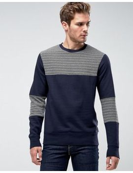 Bellfield Sweatshirt With Herringbone Panels by Bellfield