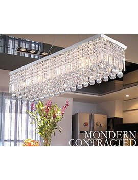 Crystop Clear K9 Crystal Chandelier Dining Room Light Fixtures Polished Chrome Finish Modern Rectangle Chandeliers L31.5'' X W9.8'' X H8.9'' by Ella Fashion