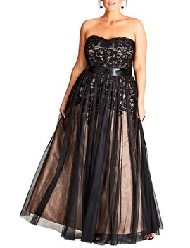 Embellished Tulle Strapless Ballgown by City Chic